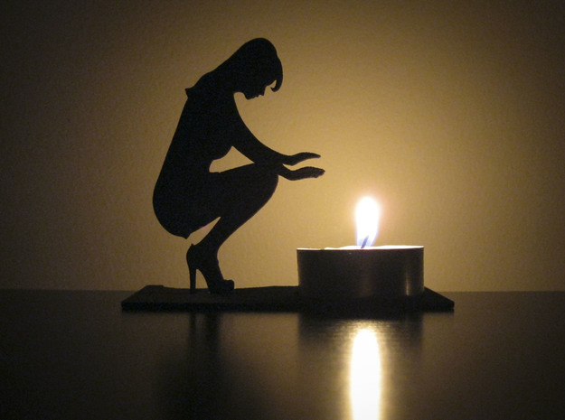 Handwarmer Lady Tea Light  in Black Strong & Flexible