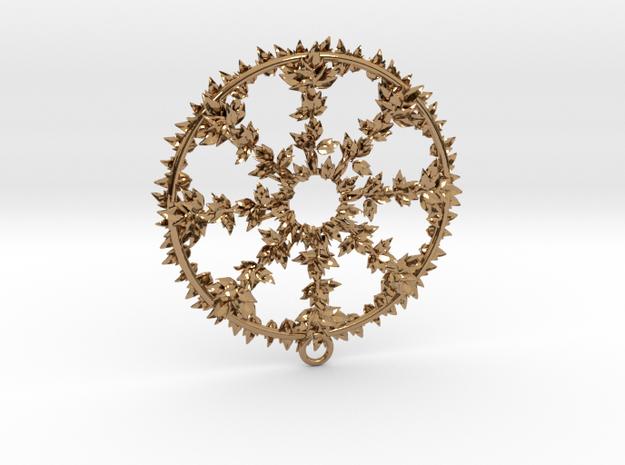 Hub Cap Leafy Wheel in Polished Brass