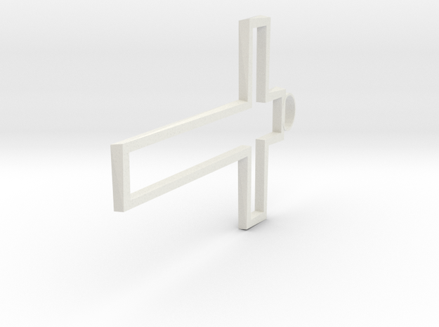 Hollow Cross Small in White Natural Versatile Plastic