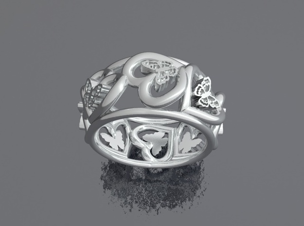 Anello Cuori Valentine in Polished Silver: Medium