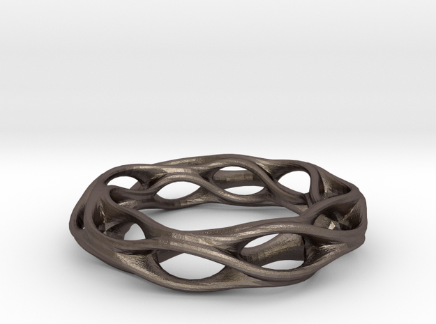 Twisted Holes Ring 17mm in Polished Bronzed Silver Steel