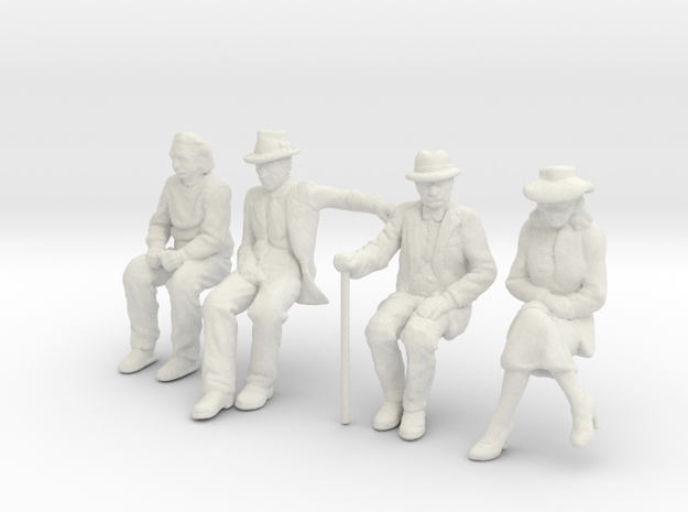 4 seated Low Res 1/32nd Scale figures in White Natural Versatile Plastic