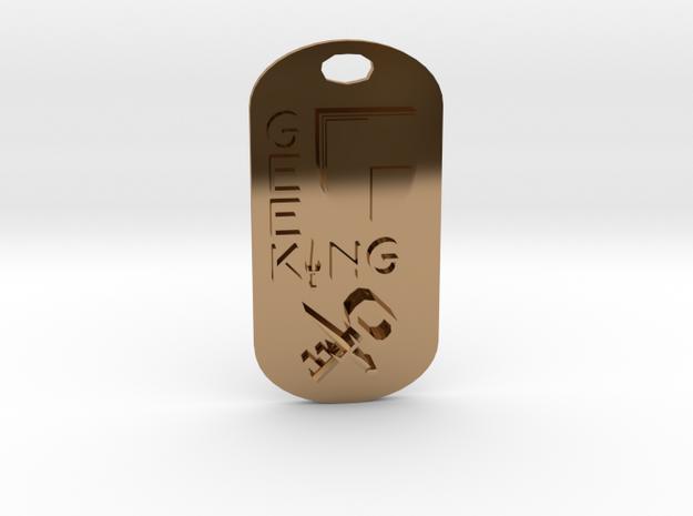 Geek King Keychain in Polished Brass