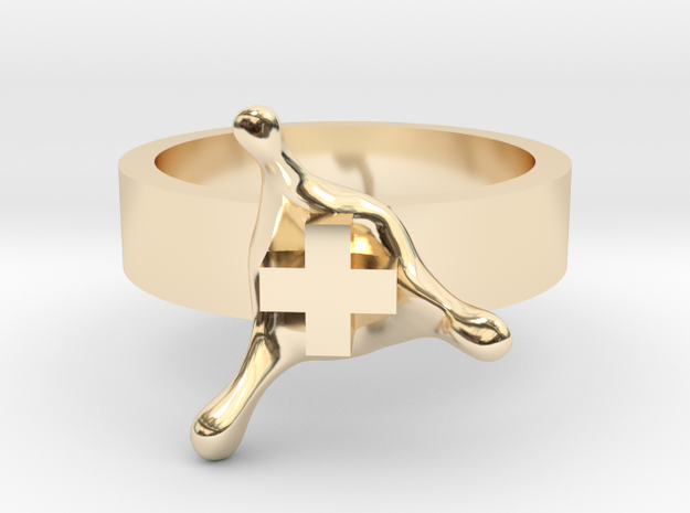 PositiveSplash ring size 8 U.S. in 14k Gold Plated Brass