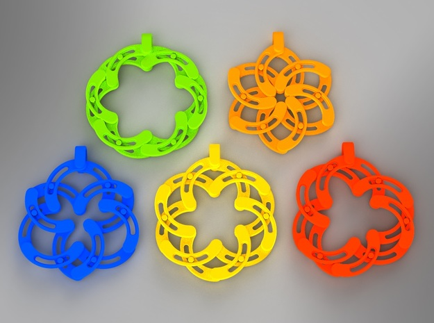 Expandable-S Flower Pendant/Keychain in Yellow Processed Versatile Plastic