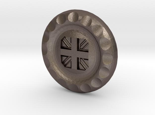Golf Ball Marker UK Flag in Polished Bronzed Silver Steel