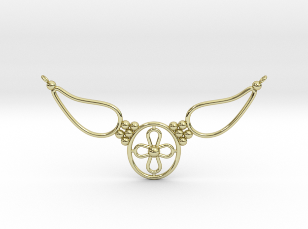 pendant with flower in 18k Gold Plated Brass