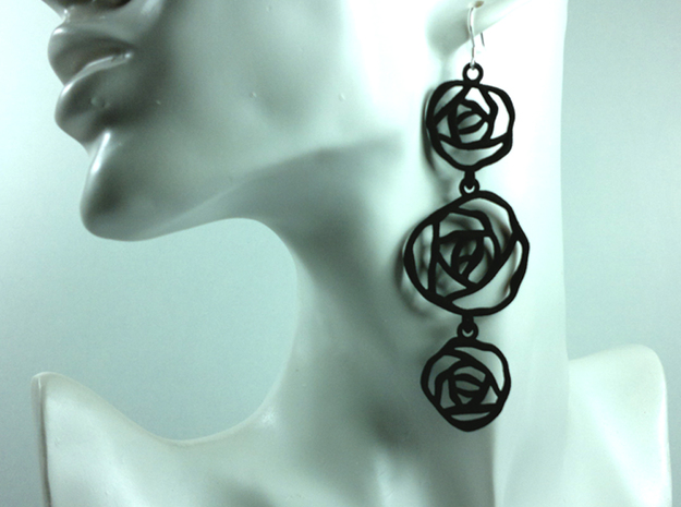 BLACK ROSE earrings 3d printed