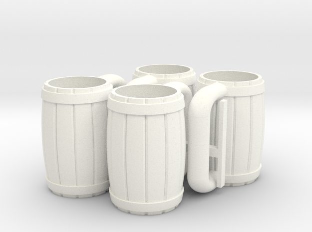 MOTUC 4 Mugs in White Processed Versatile Plastic