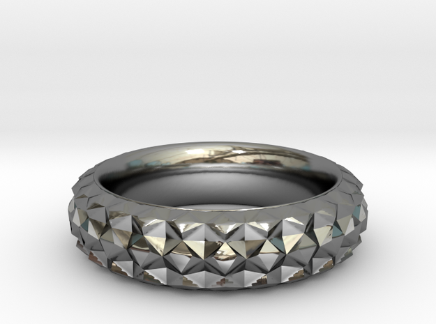 Facet Ring  in Fine Detail Polished Silver
