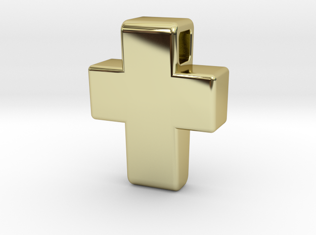 Chunky Cross Pendant in 18k Gold Plated Brass