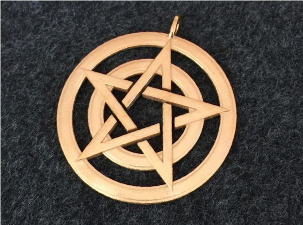 Pentacle Pendant - Circles in 14k Gold Plated