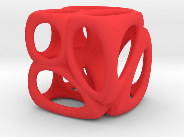 Voronoi Cube (001) in Red Processed Versatile Plastic