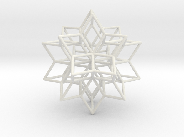 Rhombic Hexecontahedron, 1.65mm round struts in White Natural Versatile Plastic