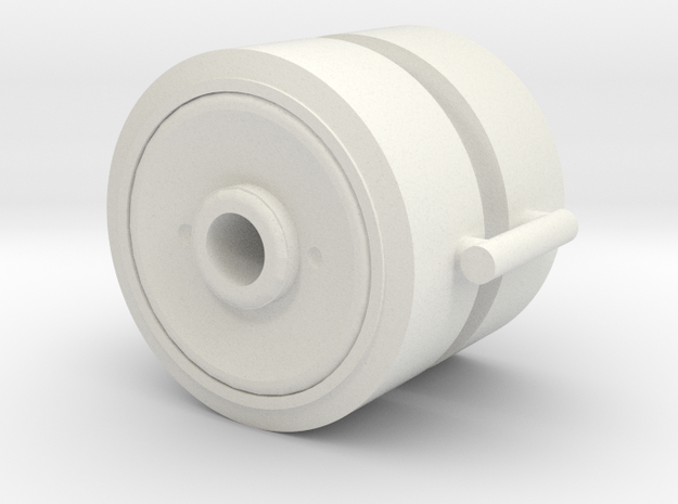 Two 1/16 M4 Sherman pressed steel wheels in White Natural Versatile Plastic