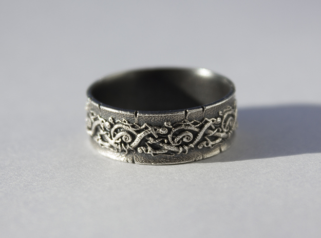 Jörmungandr Ring - size 10 5/8 (20.32mm) in Raw Silver