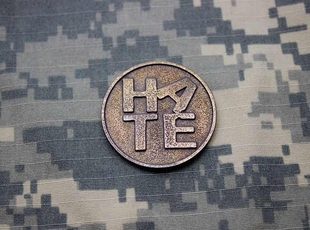 The Hate Project: HATE LOGO COIN in Polished Bronze Steel