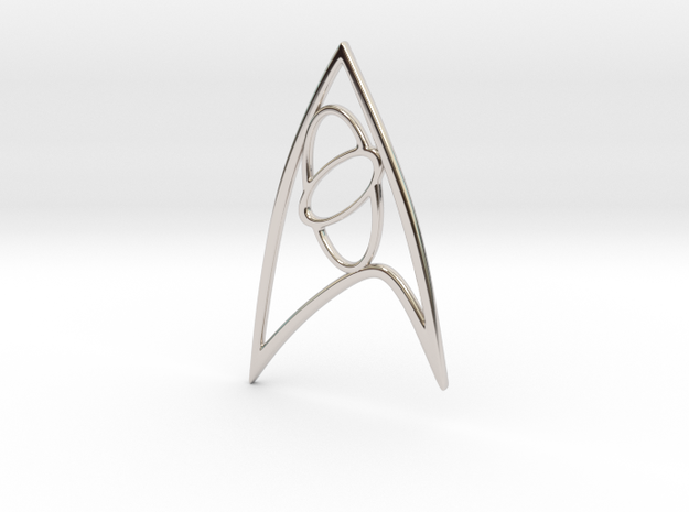 Star Trek - Starfleet Science Sign in Rhodium Plated Brass