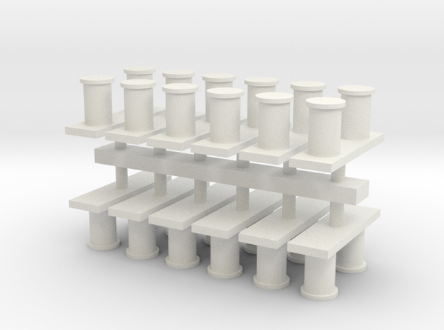 1:96 scale Chocks - Extra Large 12 in White Natural Versatile Plastic