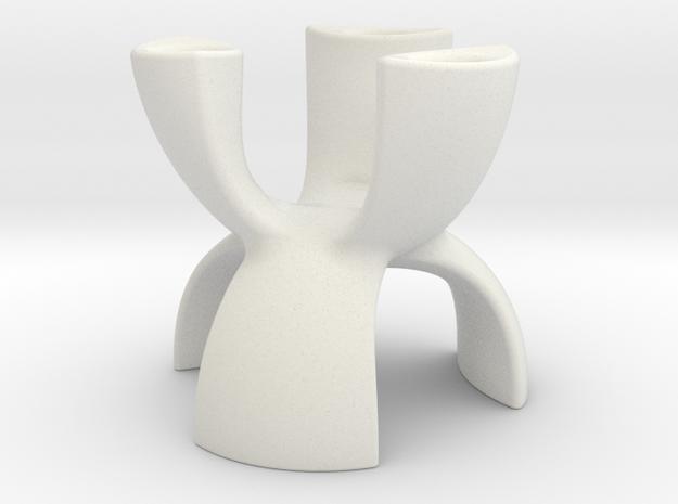 Candle Holder 3 Leg in White Natural Versatile Plastic