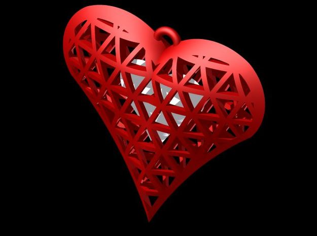Heart In Heart Cage Necklace 3d printed