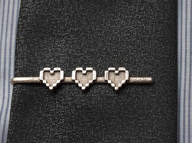 Legend of Zelda: Pixel Heart Tie Clip 3d printed Shapeways tie clip