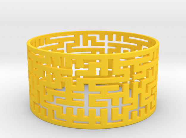 Maze Bracelet 80mm in Yellow Processed Versatile Plastic