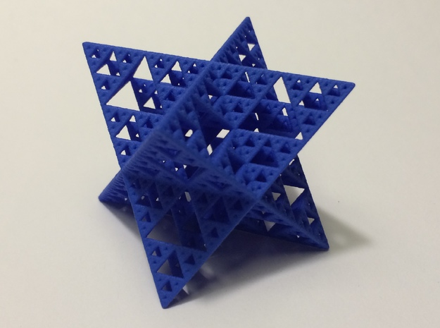 Sierpinski Octostar 3.75cm 3d printed Blue Strong and Flexible Polished