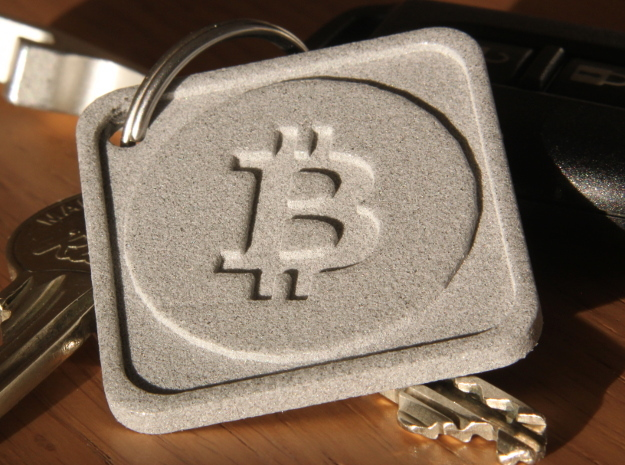 Keychain with Bitcoin Logo in Polished Bronzed Silver Steel