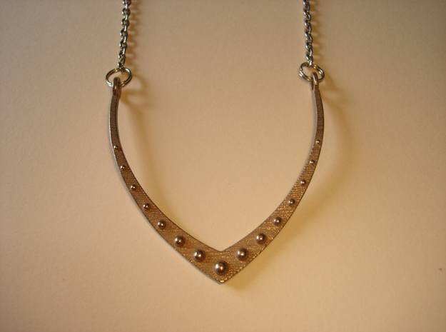 V23 Necklace Pendant in Polished Bronzed Silver Steel