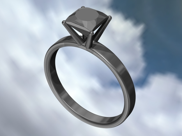 Metal Diamond Ring - US Size 6 3d printed All metal diamond ring