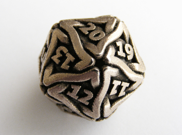 'Twined' Dice D20 Spindown Life Counter Die 24mm in Polished Bronzed Silver Steel