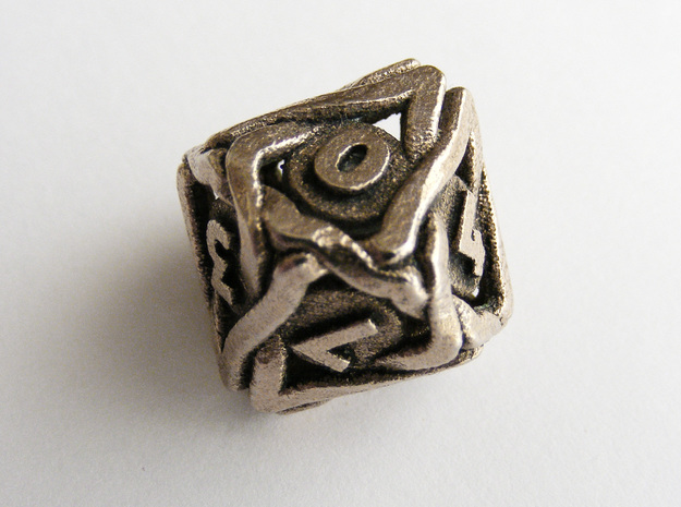 'Twined' Dice D10 Gaming Die (18 mm) in Stainless Steel