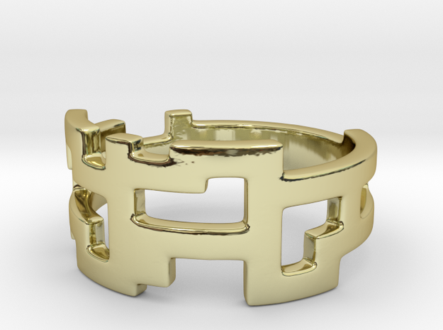 Ring Blocks - Size 8 in 18k Gold Plated Brass