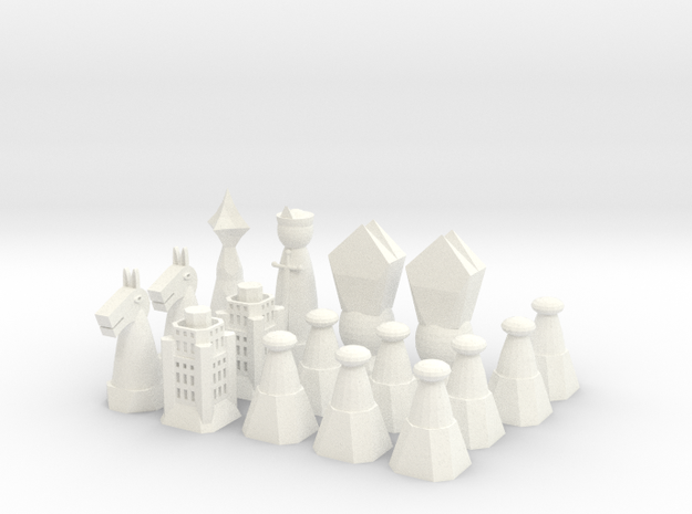 Chess Set 1/2 in White Strong & Flexible Polished
