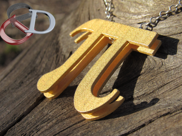 Pi Pendant  in Matte Gold Steel