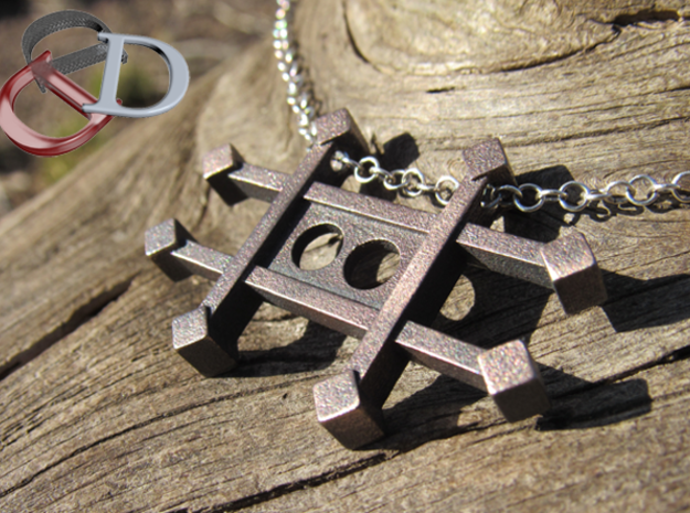 Zinc Alchemy Symbol Pendant  in Polished and Bronzed Black Steel