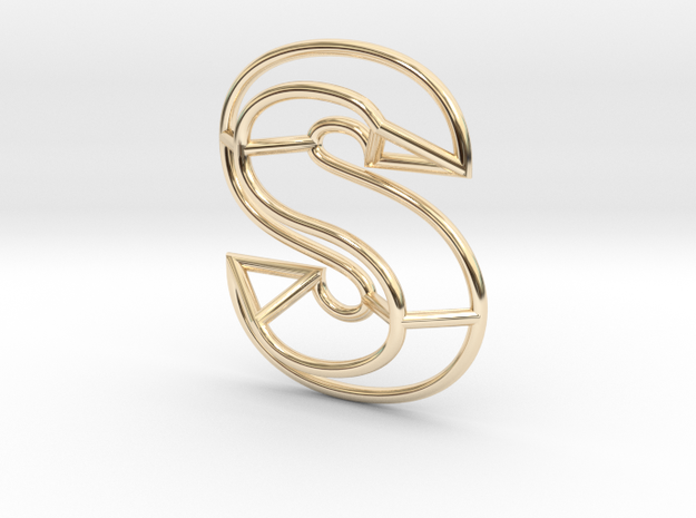 S Pendant in 14k Gold Plated Brass