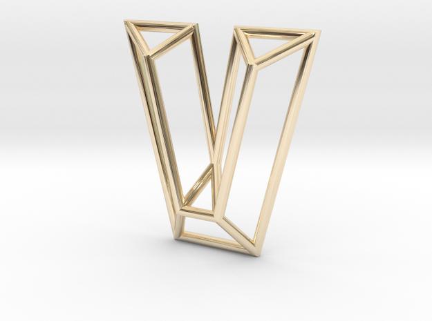V Pendant in 14k Gold Plated Brass