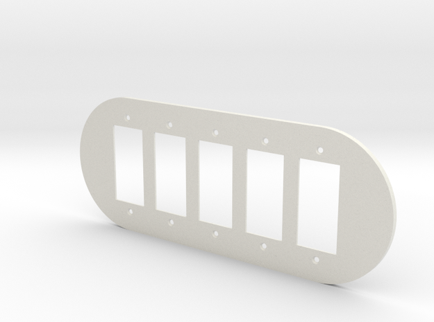plodes® 5 Gang Decora Outlet Wall Plate in White Strong & Flexible