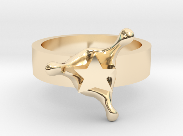 StarSplash ring size 8 U.S. in 14k Gold Plated Brass