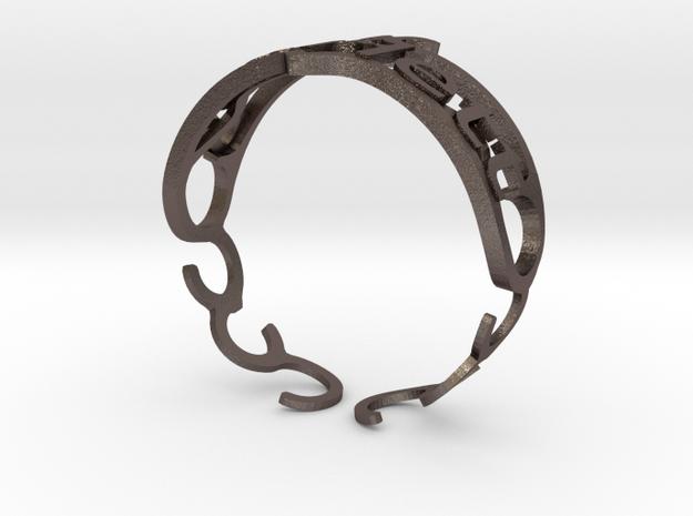 "Your Name Custom Bracelet - ""Scarlett""  in Polished Bronzed Silver Steel"