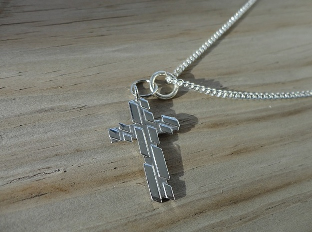 Cross Key in Rhodium Plated