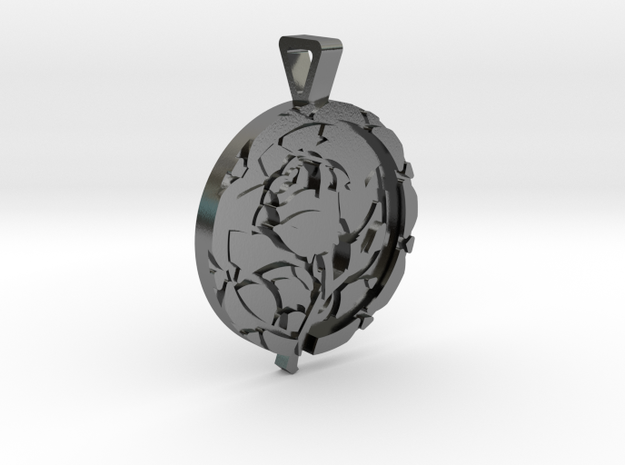 Enchanted Rose Pendant in Polished Silver