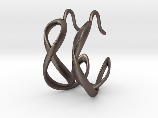 Waves Earrings in Polished Bronzed Silver Steel