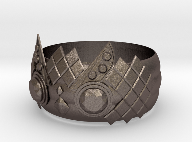 Owl Ring in Polished Bronzed Silver Steel