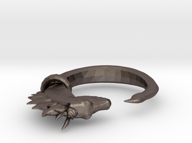 Horse Ring in Polished Bronzed Silver Steel