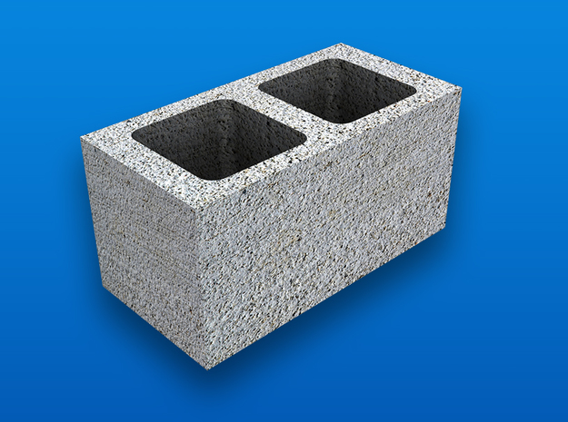 1:12 Scale Cinder Block (end type) in White Natural Versatile Plastic