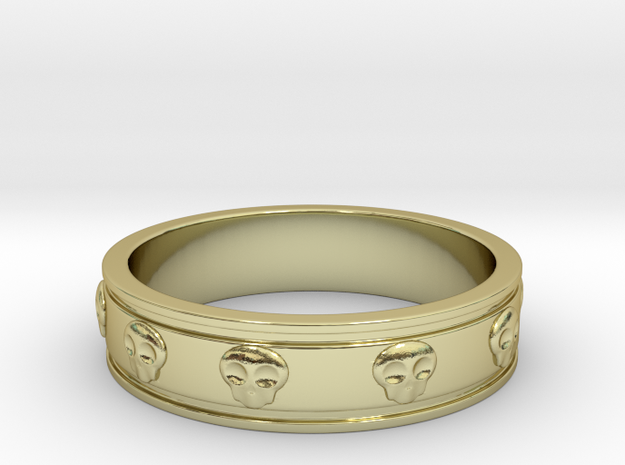 Ring with Skulls - Size 8 in 18k Gold Plated Brass