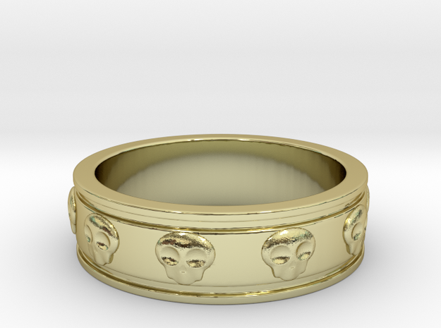 Ring with Skulls - Size 4 in 18k Gold Plated Brass